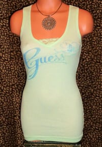 NEW Guess SIZE MED Mint Green Rhinestones & Lace Logo Tank Top