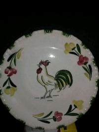Hand painted Rooster Dinner Plate 974 mi