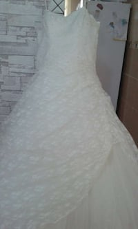 white lace floral tube wedding gown