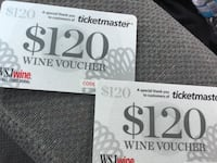 Two $120 Wine Gift Cards  Findlay, 45840