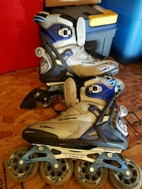 pair of white-and-blue inline skates Sherwood Park, T8H 2J5