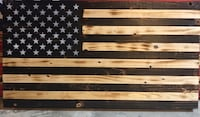 "Rustic hand made, wood burned American flag. Perfect for home decor. Size 24 3/4"" x 13"" Plymouth, 06786"