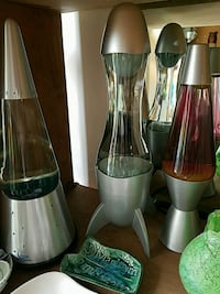 Stainless steel and black lava lamps Lancaster