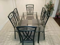 rectangular glass top table with four chairs dining set Milton, L9T 5K7