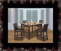 Marble tall table with 4 leather chairs Crofton