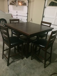 Rectangular brown wooden table with 4 dining set Buford, 30519