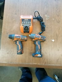 Ridgid impact, drill, charger,  2 batteries