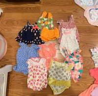 Baby Girl 0-3 Month Rompers and Dresses