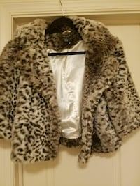 white and grey fur jacket