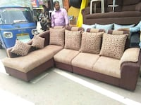 brown and white fabric sectional sofa
