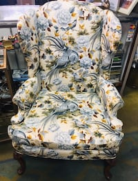 White and blue floral print armchair Ridley Park, 19078