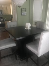 rectangular black wooden table with six chairs dining set ATLANTA