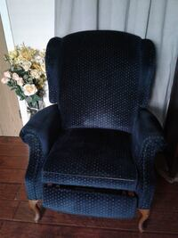 Dark blue with tiny beige dots fabric sofa chair Surrey