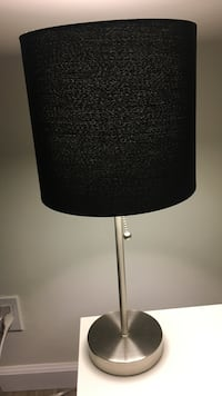 stainless steel based black lampshade table lamp