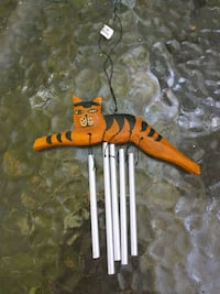Wood cat windchime