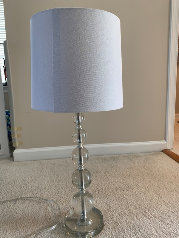 Glass with white shade table lamp