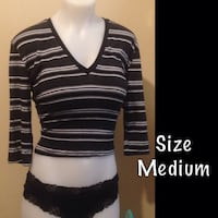 black and white striped scoop-neck shirt Winnipeg, R2L 0H1