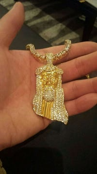 Jesus's face ice out gold tone plated chain