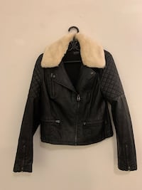 Top shop Leather Jacket with removable faux fur collar
