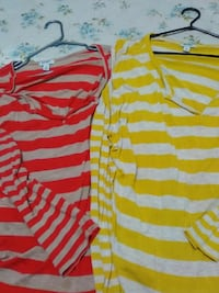 two red, gray and yellow stripe long-sleeved shirts