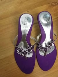 purple and grey beaded floral heeled sandals