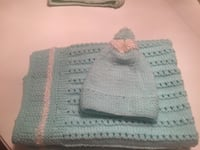 White and green baby blanket and hat Foxboro, 02035