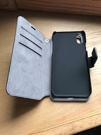 Black iPhone X/XS black leather flip case Calgary, T3E