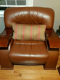 brown leather padded sofa chair Burke