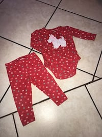 red and white polka dot long-sleeve onesie and pajama set McAllen, 78501