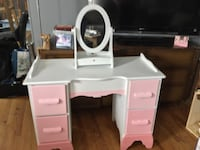 white and pink wooden desk with hutch Laurel, 20708