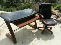 Stylish Office Desk and Leather Chair