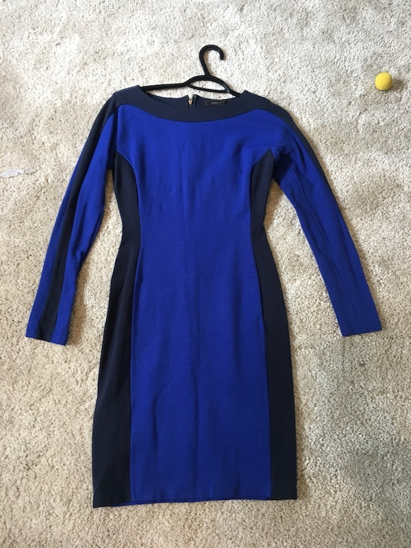 Blue and black long-sleeved dress