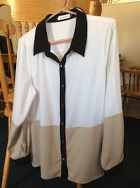 White & Black Collard Long-Sleeved Dress Shirt Excellent Condition Size XL Adelanto, 92301