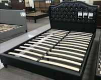 Brand New Queen Size Leather Platform Bed Frame  Silver Spring