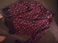 gray and pink polka dot zip-up hoodie Huntington