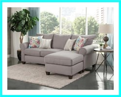 Gray Sectional Sofa with Pillows
