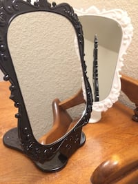 pair of black leather open-toe heeled sandals Bakersfield, 93306