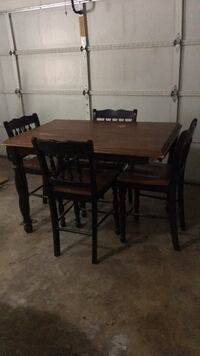 rectangular brown wooden table with four chairs dining set Haughton, 71037