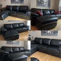 All black leather couch with left side chaise great condition