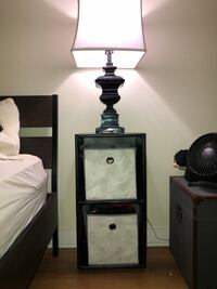 Black wooden table lamp base with white lampshade // side tables Alexandria, 22304