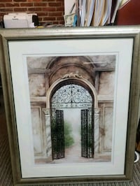 brown wooden framed painting of brown wooden house