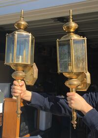 Beautiful Brass and Glass Outdoor lights. Needs polishing. Make offer! Frederick, 21703