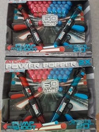 Atomic Power Popper 2X Dual Battle Pack 60 Ammo Balls 2 BLASTERS- Lot of 2 NEW Holland