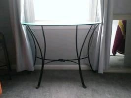 glass half moon console table