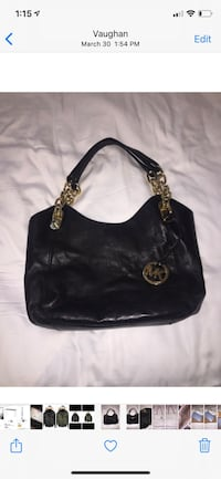 Michael Kors black learher bag with gold hardware