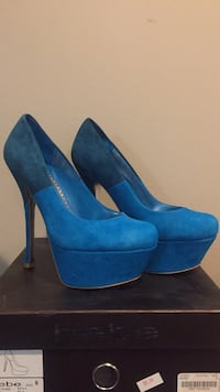 pair of blue suede platform stilettos Woodbridge, 22193
