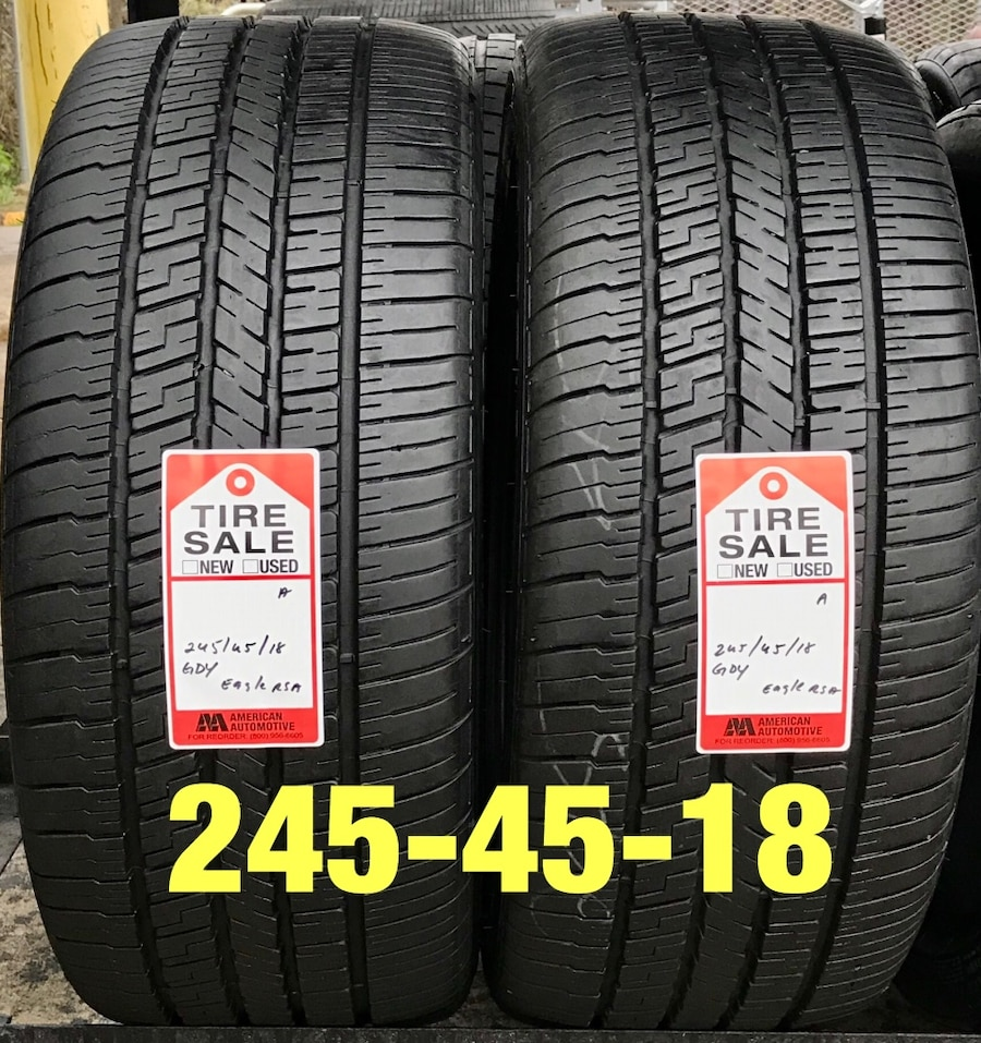 Photo 2 used tires 245/45/18 Goodyear RSA