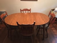 Oval brown wooden table with four chairs dining set Rome, 30165