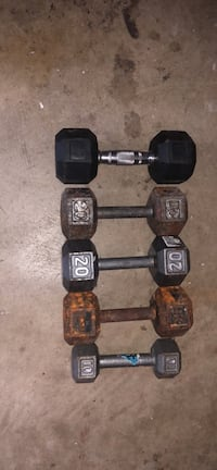 two black fixed weight dumbbells Virginia Beach, 23452
