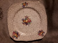 Vintage H & K Tunstall England Square Serving Plate, Fruit and  Flower design  9 inches null